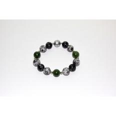 Granitarmband mit Jade und Silberteilen