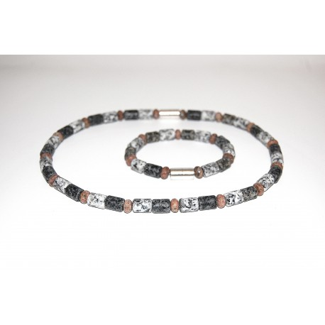 Granitkette Zylinder matt mit Roundel Set mit Armband
